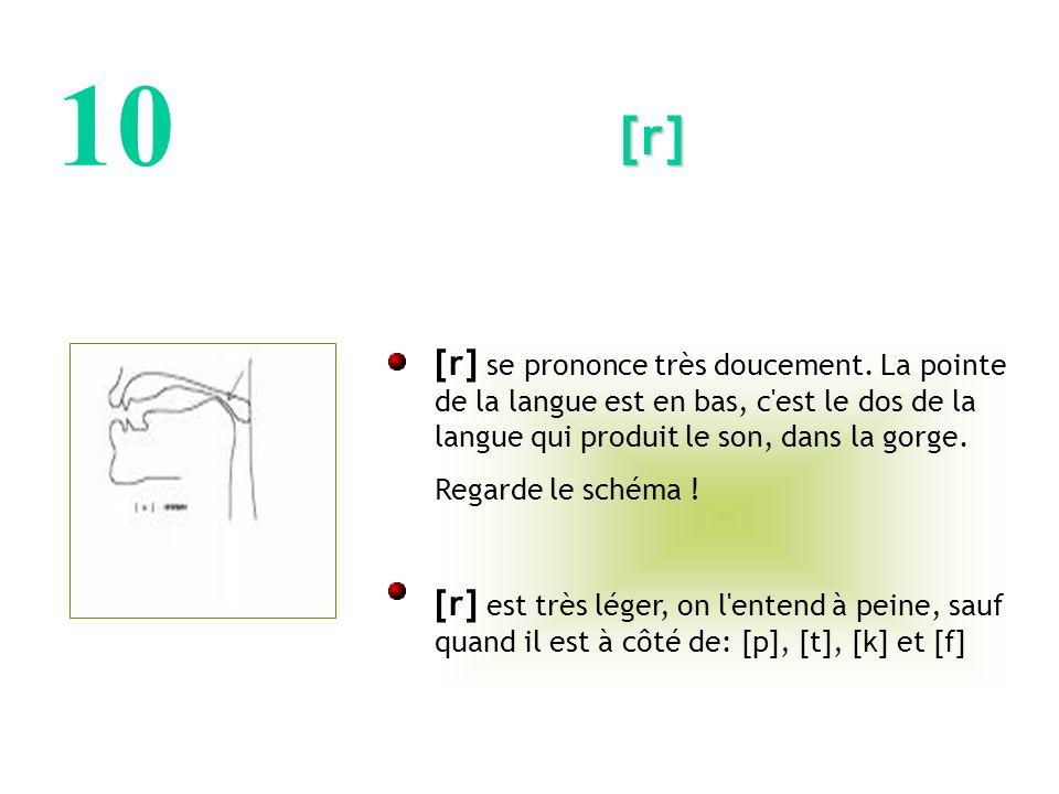 10 [r] [r] se prononce très doucement. La pointe de la langue est en bas, c est le dos de la langue qui produit le son, dans la gorge.